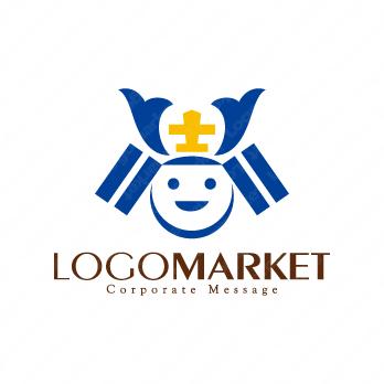 笑顔とサポートとキャラクターのロゴ