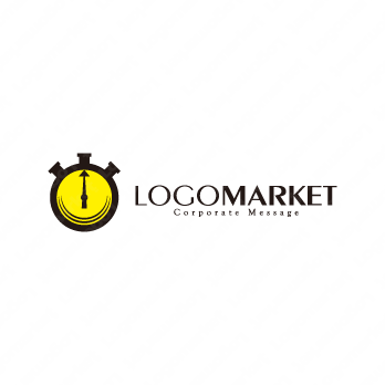 集中力と時間と時計のロゴ