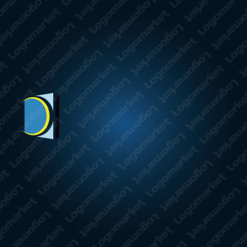 三日月とドアとDのロゴ