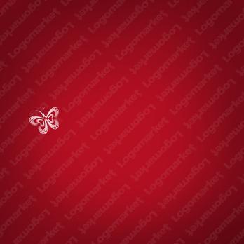 蝶と愛情とハートのロゴ