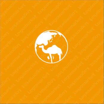 地球と動物とラクダのロゴ