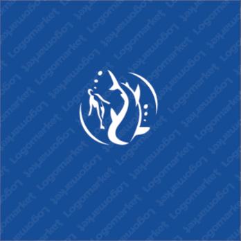 動物と共存とジンベエザメのロゴ