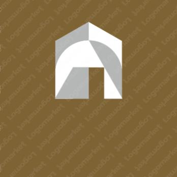 家屋と図形とシンプルのロゴ