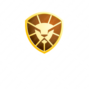ライオンとセキュリティとシールドのロゴ