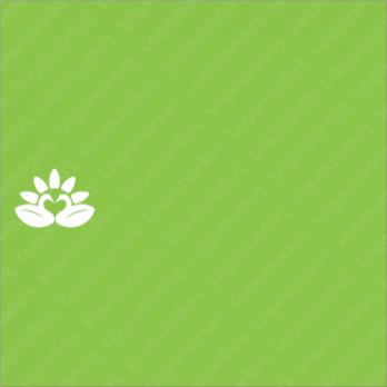 花と白鳥とハートのロゴ