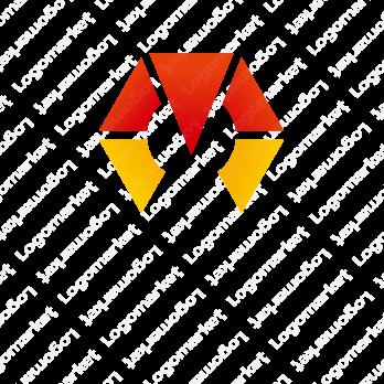 Mと六角形とシンプルのロゴ