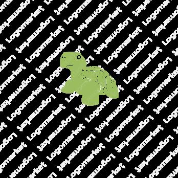 亀と長寿とキャラクターのロゴ
