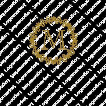 「M」とエンブレムと飾り罫のロゴ