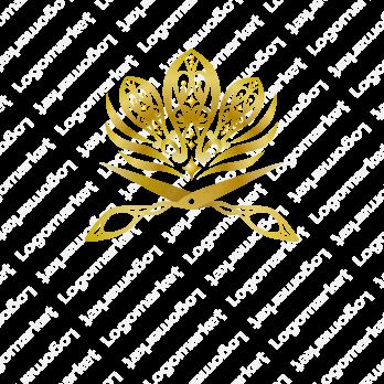 美容院とはさみと花のロゴ