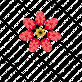 ネイルサロンと花と女性らしいのロゴ