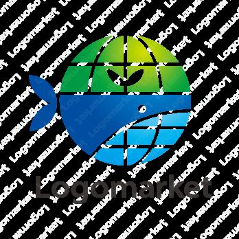 地球とクジラとキャラクターのロゴ