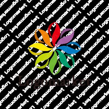 花と虹色と喜びのロゴ