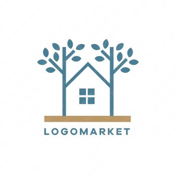 家と木とナチュラル シンプルのロゴ