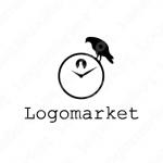 時計と鳩と鳥のロゴ