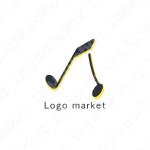 音符とスキップと音楽のロゴ