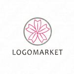 桜と家紋とモダンのロゴ