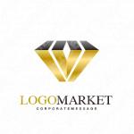 宝石とシンプルと高級感のロゴ