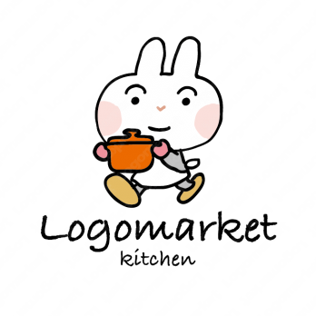 うさぎとキッチンとカフェのロゴ