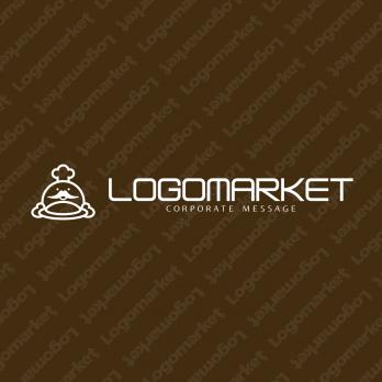 コックと料理とキャラクターのロゴ
