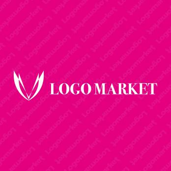 ハートとスタイリッシュとピンクのロゴ