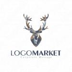 角と鹿と動物のロゴ