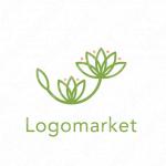 花と成長とシンプルのロゴ