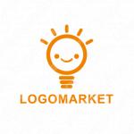 電球とアイデアとキャラクターのロゴ