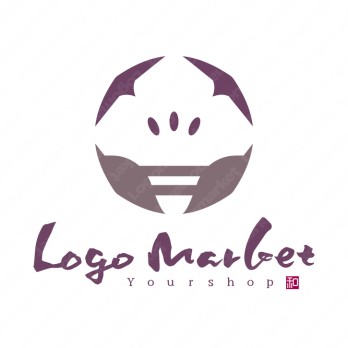 菖蒲と花と筆文字のロゴ