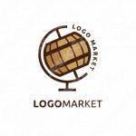 酒と樽と地球儀のロゴ