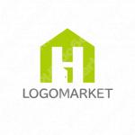 Hと家とドアのロゴ