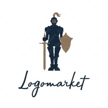 人と騎士とキャラクターのロゴ