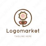 花と丸と植物のロゴ