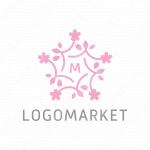 桜と星とエンブレムのロゴ
