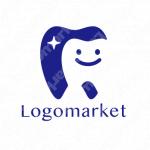 歯とキャラクターとシンプルのロゴ