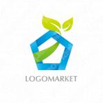 家と葉と成長のロゴ