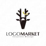 シカと黒字と商売繁盛のロゴ