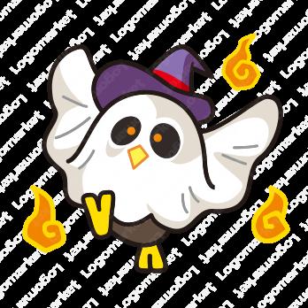 フクロウと妖怪と鳥のロゴ