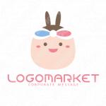 リボンと耳とキャラクターのロゴ