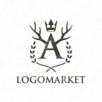 エンブレムと王冠と鹿のロゴ