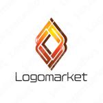 炎とデジタルと発展のロゴ