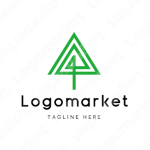 木と矢印と上昇のロゴ