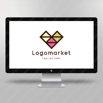 トラス構造と三角とハートのロゴ