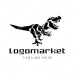 恐竜とティラノサウルスと動物のロゴ