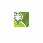 グローバルと発信と地図のロゴ