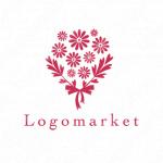 花束とリボンとナチュラルのロゴ