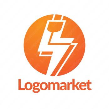 稲妻と電気プラグと繋がりのロゴ