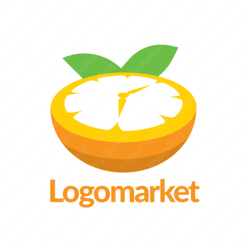 オレンジと時計とユニークのロゴ