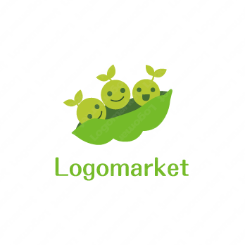 幼児とキャラクターと豆のロゴ