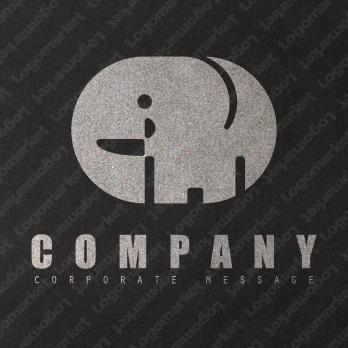 ゾウとかわいいと動物のロゴ