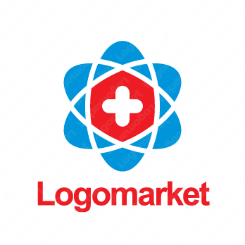 十字と原子イメージと繋がりのロゴ